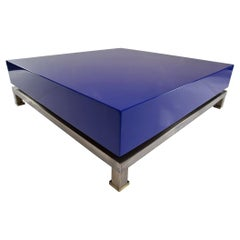 Guy Lefèvre Blue Lacquered Coffee Table for Maison Jansen, 1970s