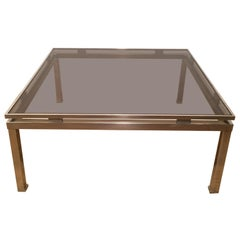 Guy Lefevre, Brushed Steel Square Coffee Table, circa 1970