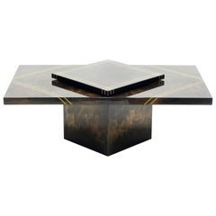 Guy Lefevre for Ligne Roset Lacquered Brass Bar Coffee Table, 1970s
