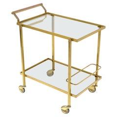 Guy Lefevre for Maison Jansen Bar Cart Brass & Glass French Mid-Century Modern