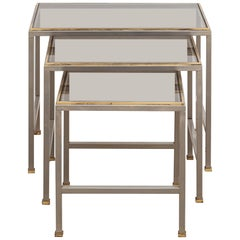 Guy Lefevre for Maison Jansen Brass and Chrome Glass Top Side Tables, 1970