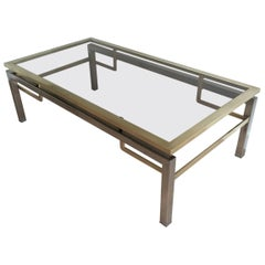 Guy Lefèvre for Maison Jansen, Brushed Steel and Brass Coffee Table, French