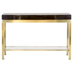Guy Lefèvre for Maison Jansen, Lacquer and Brass Console, 1970s
