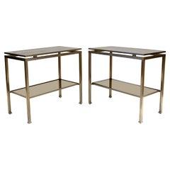 Guy Lefevre for Maison Jansen Nickel & Glass Top Side, End Table France, Pair