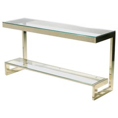 Guy Lefevre Large Brass Console Table for Maison Jansen, 1970s