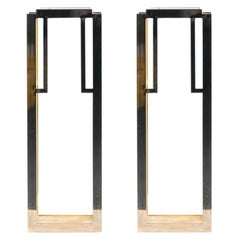 Guy Lefevre Style Tall Brass Midcentury Pedestals with Interchangeable Glass