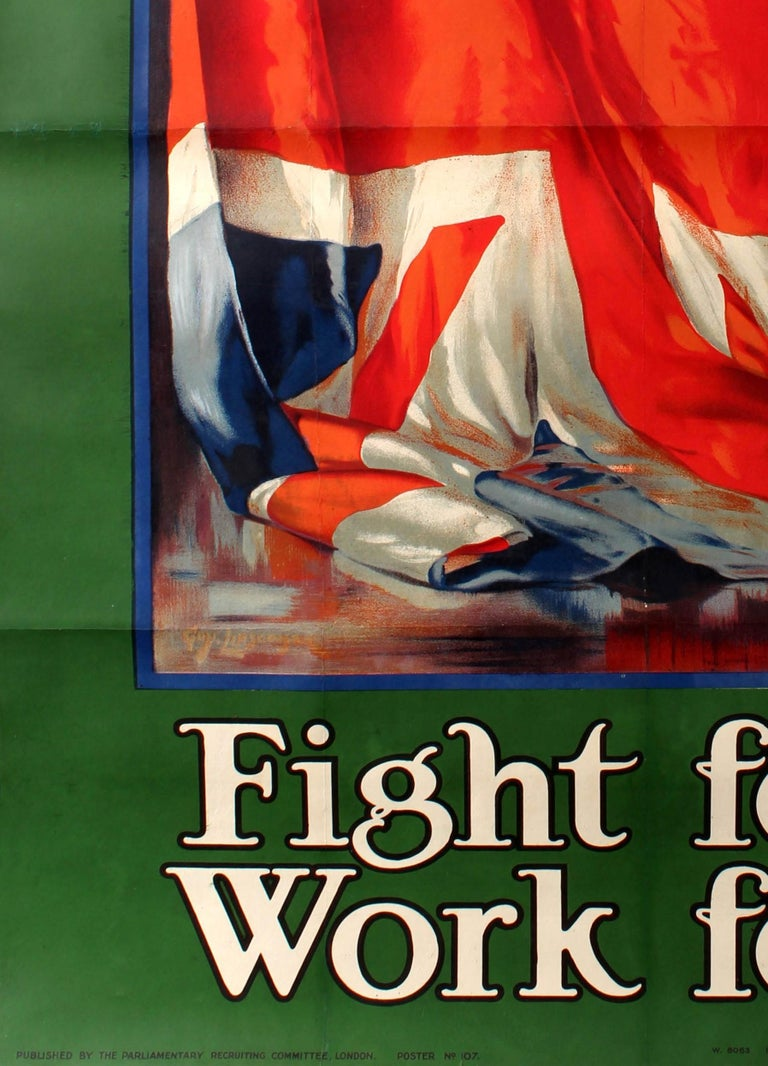 Original antique British World War One recruitment poster featuring a painting of the Union Jack flag inside a blue frame and green border, the stylised text in white and black above and below - It's our flag Fight for it Work for it. Published by
