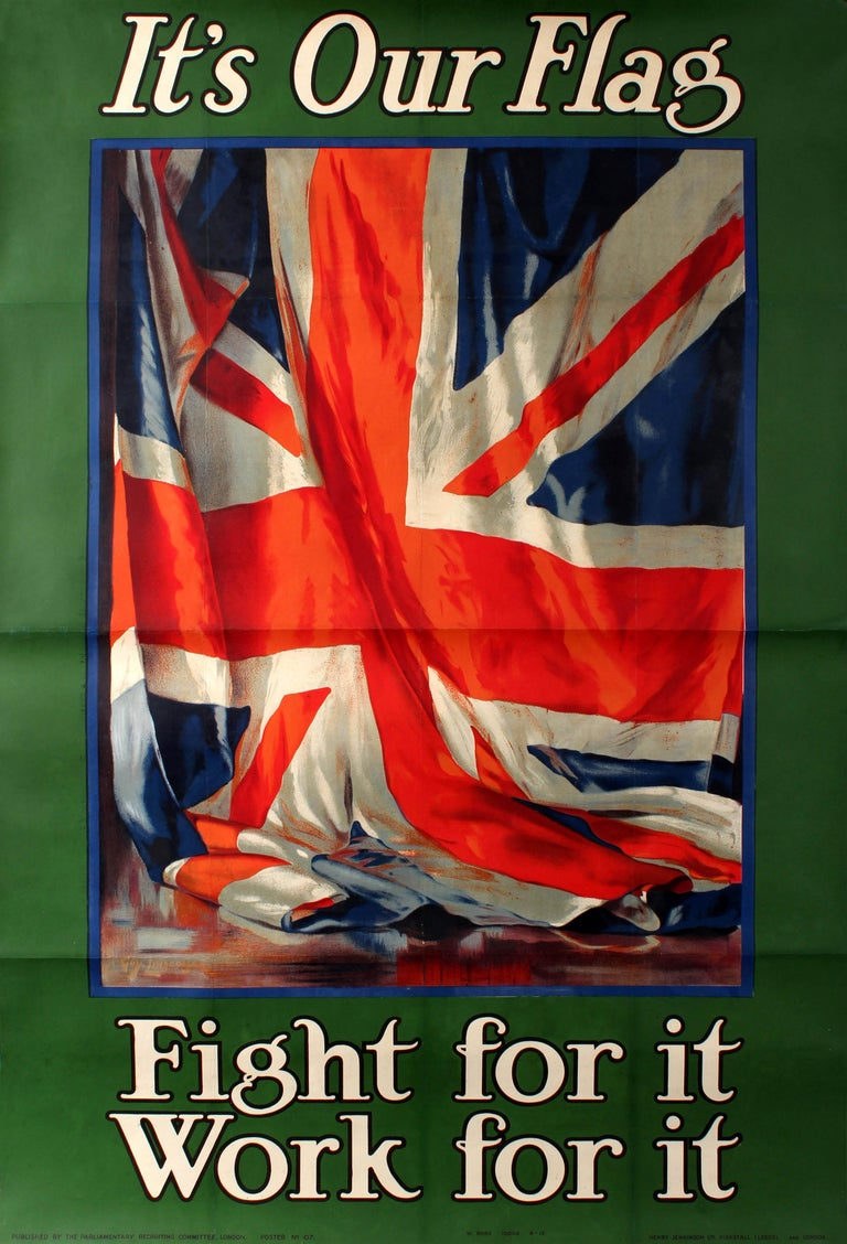 Guy Lipscombe Print - Original Vintage World War One Recruitment Poster WWI It's Our Flag Fight For It