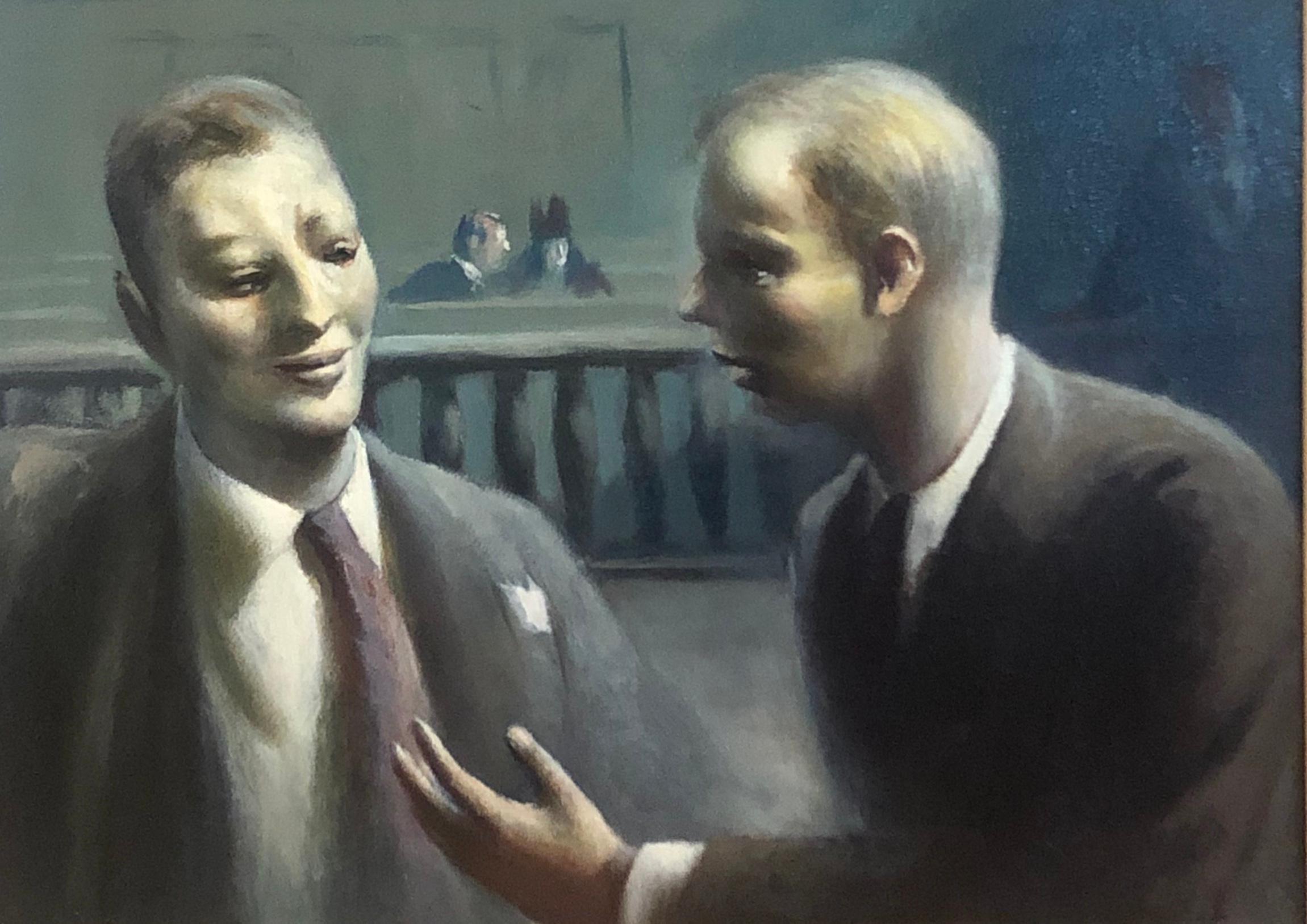 Guy Pene du Bois WPA American Modernism Realism NYC Scene Oil Lawyers in Court