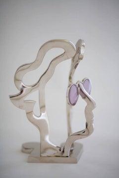 Imagine - John Lennon Table top Figurative bronze sculpture Beatles silver toned