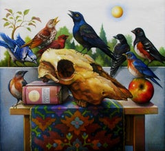 """Anatomy Lesson"" - Geometric Surrealist Painting - Skull Still Life - Arcimboldo"