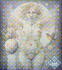 """Flora #12"" - Geometric Surrealist Painting - Nude - Arcimboldo"