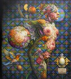 """Flora #6"" - Geometric Surrealist Painting - Nude - Arcimboldo"