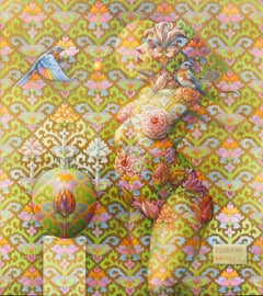 """Flora #8"" - Geometric Surrealist Painting - Nude - Arcimboldo"