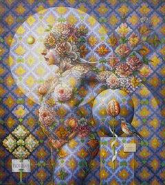 """Flora #9"" - Geometric Surrealist Painting - Nude - Arcimboldo"