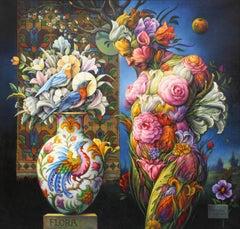 """Flora"" - Geometric Surrealist Painting - Nude - Arcimboldo"