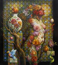 """""""Floral #5"""" - Geometric Surrealist Painting - Nude - Arcimboldo"""