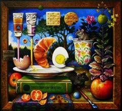 """""""My Breakfast"""" - Surrealist Painting - Still Life - patterns - Arcimboldo"""