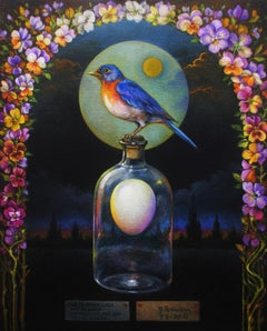 """Prayer"" - Surrealist Painting - Still Life - patterns - blue bird - Arcimboldo"