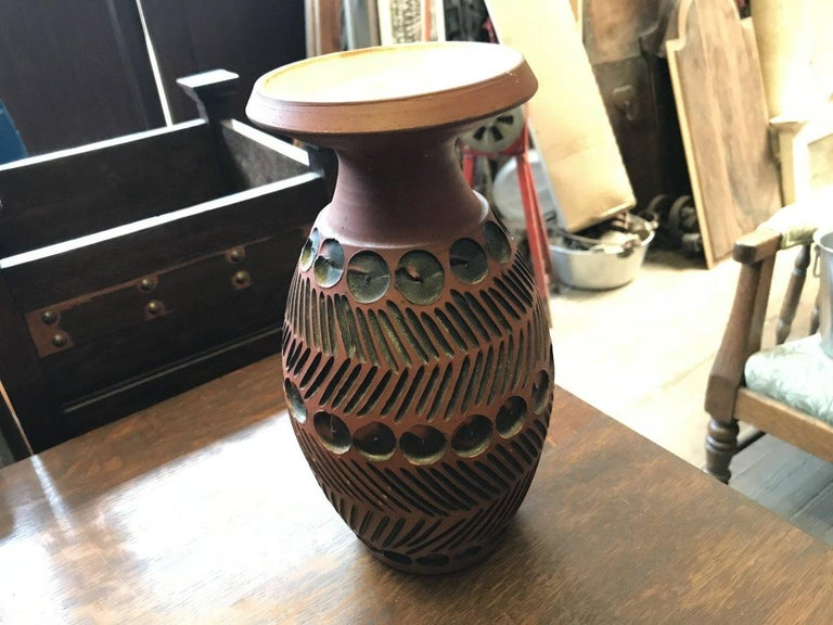 Organic Modern Guy Sydenham for Poole Pottery, Hand Thrown Clay Terracotta Studio Vase For Sale