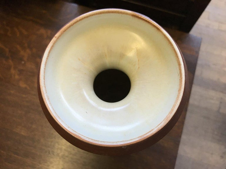 English Guy Sydenham for Poole Pottery, Hand Thrown Clay Terracotta Studio Vase For Sale
