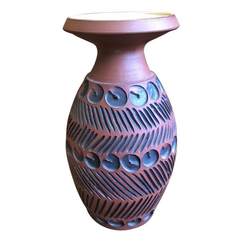 Guy Sydenham for Poole Pottery, Hand Thrown Clay Terracotta Studio Vase