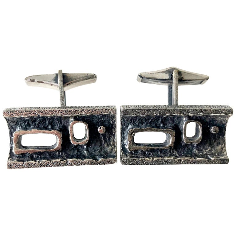 Guy Vidal Pewter Alloy Abstract Modernist Cufflinks For Sale