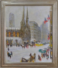 One Winter's Day, American Impressionist New York City Street Scene 1958, Framed