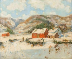 """On Dorset Hills, Vermont,"" American Impressionist Snowy Winter, Guy Wiggins"