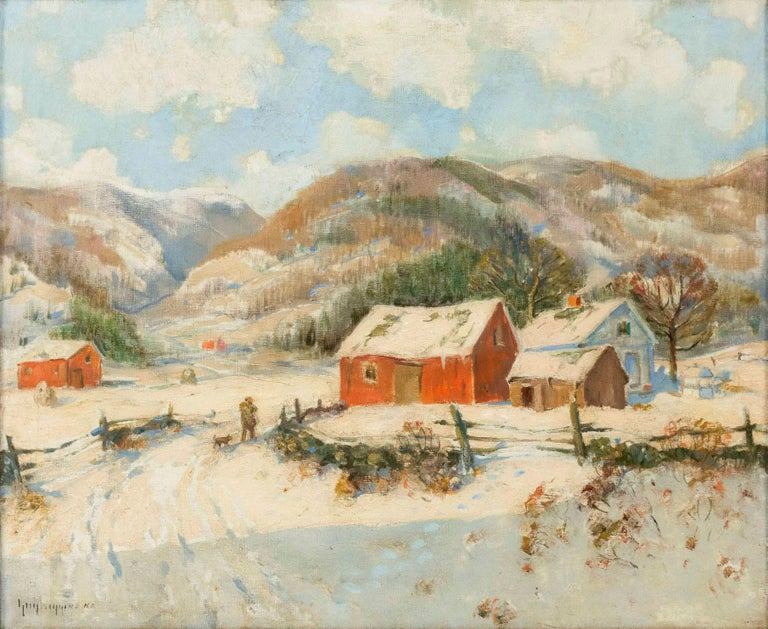 """On Dorset Hills, Vermont,"" American Impressionist Snowy Winter, Guy Wiggins - Painting by Guy Wiggins"
