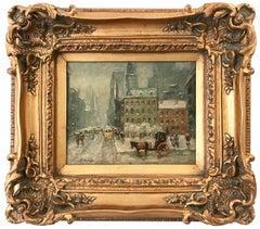 """Snow on Central Park West"" Impressionistic Oil Snow Scene After Guy Wiggins"