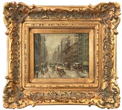 """""""Snow in Downtown Manhattan"""" Impressionistic Oil Snow Scene After Guy Wiggins"""