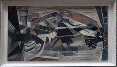 Flint County Wales - British 60s Abstract art landscape oil painting black brown
