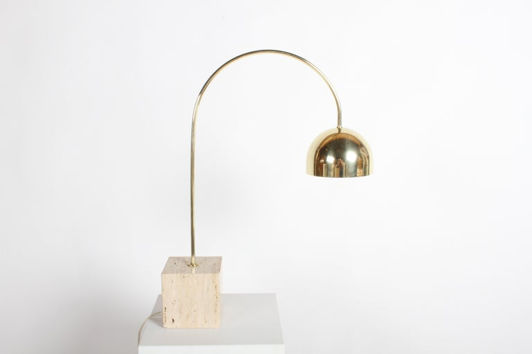 Mid-Century Modern Guzzini Italian Brass Arc Table Lamp on Travertine Base, Restored For Sale