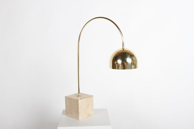 Polished Guzzini Italian Brass Arc Table Lamp on Travertine Base, Restored For Sale