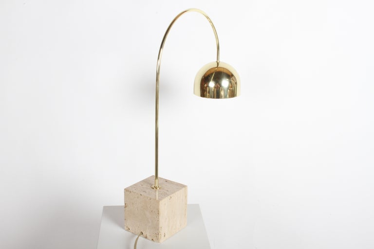 Guzzini Italian Brass Arc Table Lamp on Travertine Base, Restored In Good Condition For Sale In St. Louis, MO