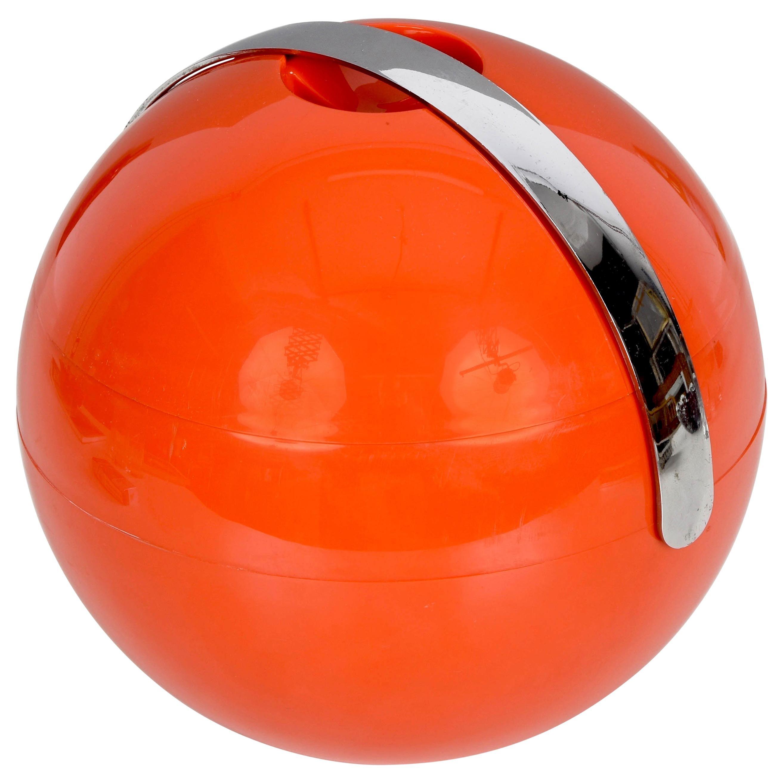 Guzzini Midcentury Orange Plastic Ball-Shaped Italian Ice Bucket, 1970s