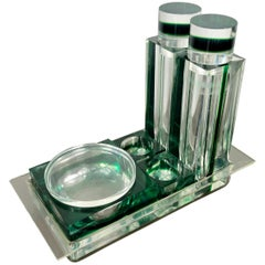 Guzzini Salt, Pepper, Oil, Vinegard, Parmesan Green Set in Lucite, 1970s, Italy