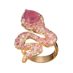 G.Verdi 18 Karat Rose Gold, 2.40Ct Diamond & 5.78Ct Pink Sapphire Serpent Ring
