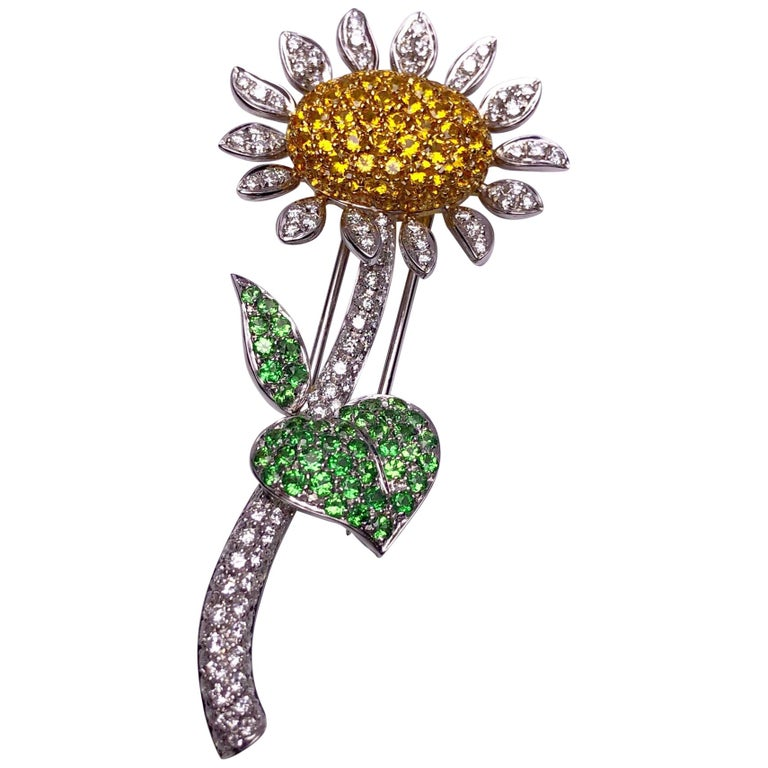 g.Verdi 18KT WG Sunflower Brooch with Diamonds, Yellow Sapphires and Tsavorites For Sale