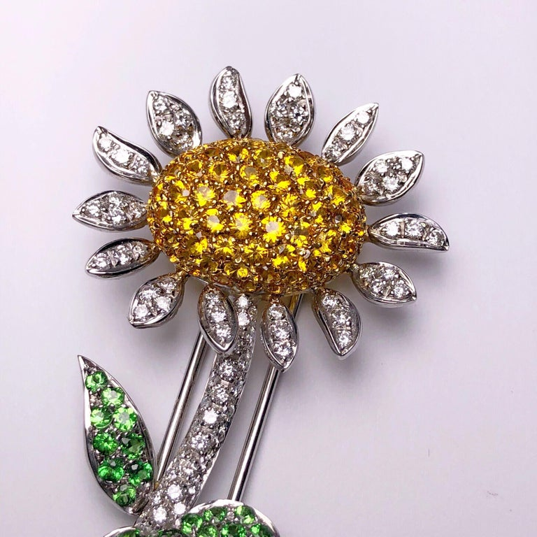 Round Cut g.Verdi 18KT WG Sunflower Brooch with Diamonds, Yellow Sapphires and Tsavorites For Sale