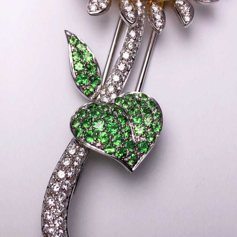 g.Verdi 18KT WG Sunflower Brooch with Diamonds, Yellow Sapphires and Tsavorites In New Condition For Sale In New York, NY