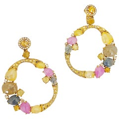 G.Verdi 18KT Yellow Gold Pendant Hoop Earrings 43.22Ct. Multicolored Sapphires