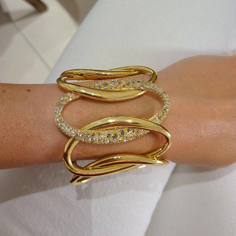 Women's or Men's G.Verdi for Cellini 18kt Yellow Gold, 8.27ct, Diamond Wide Cuff Bracelet For Sale