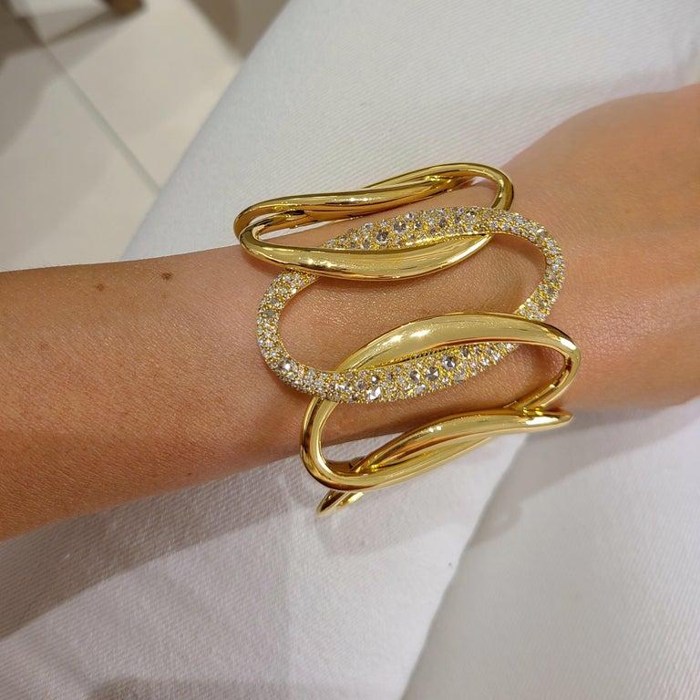 G.Verdi for Cellini 18kt Yellow Gold, 8.27ct, Diamond Wide Cuff Bracelet For Sale 1