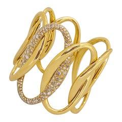 G.Verdi for Cellini 18kt Yellow Gold, 8.27ct, Diamond Wide Cuff Bracelet