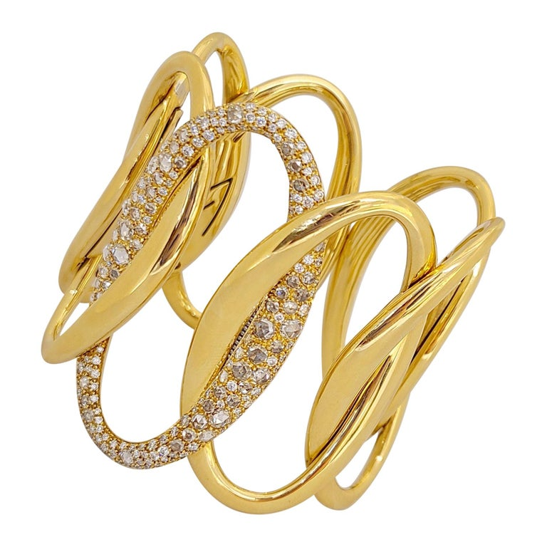 G.Verdi for Cellini 18kt Yellow Gold, 8.27ct, Diamond Wide Cuff Bracelet For Sale