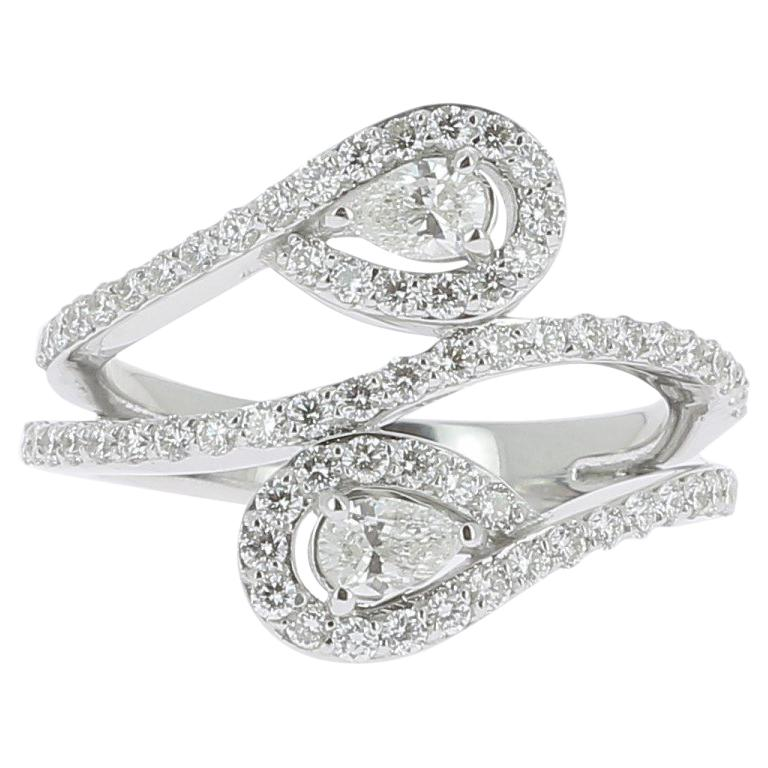 8670ce81aaa745 GVS 1.01 Carat Duo Pear and Round Diamond Ring 18 Karat White Gold Ring For  Sale