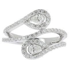 GVS 1.01 Carat Duo Pear and Round Diamond Ring 18 Karat White Gold Ring