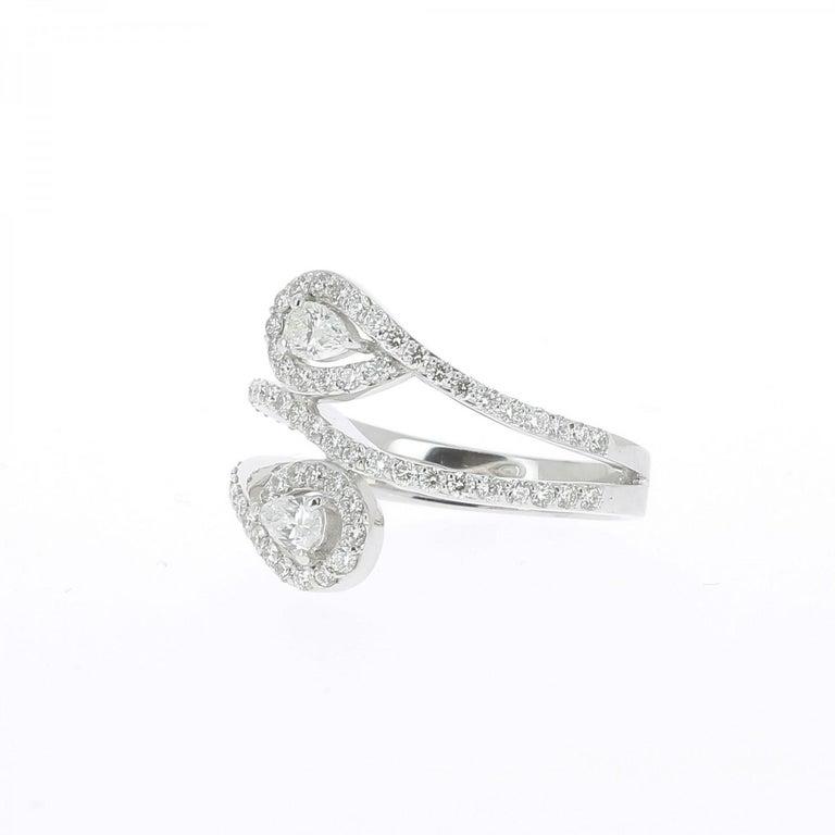 13185d2de583ef Modern GVS 1.01 Carat Duo Pear and Round Diamond Ring 18 Karat White Gold  Ring For